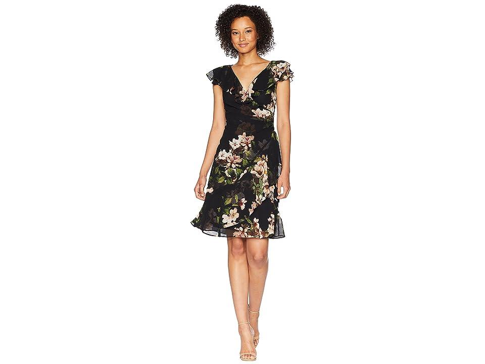 LAUREN Ralph Lauren Webby Day Dress (Black/Cream/Multi) Women