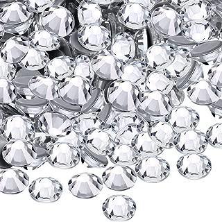 WILLBOND 1440 Pack Hot Fix AB Crystals Flatback Hotfix Rhinestones Round Gems Glass Stones (Clear, 3MM)