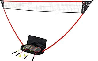 Zume Games Portable Badminton Set with Freestanding Base - Sets Up on Any Surface in Seconds - No Tools or Stakes Required