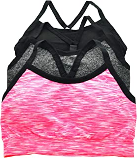 ToBeInStyle Women's 3 Pack Seamless Sports Bras w/Adjustable Y Strap Back