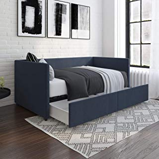 DHP Theo Urban Daybed with Storage Drawers, Small Space Furniture, Blue Linen