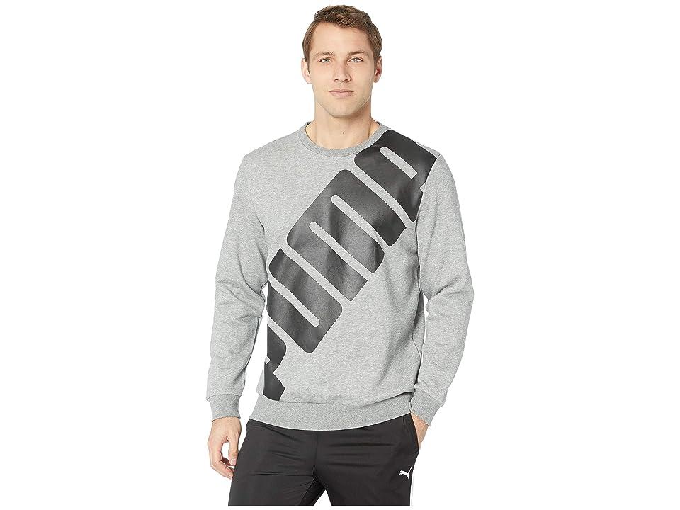 PUMA Big Logo Crew (Medium Grey Heather) Men's T Shirt, Gray