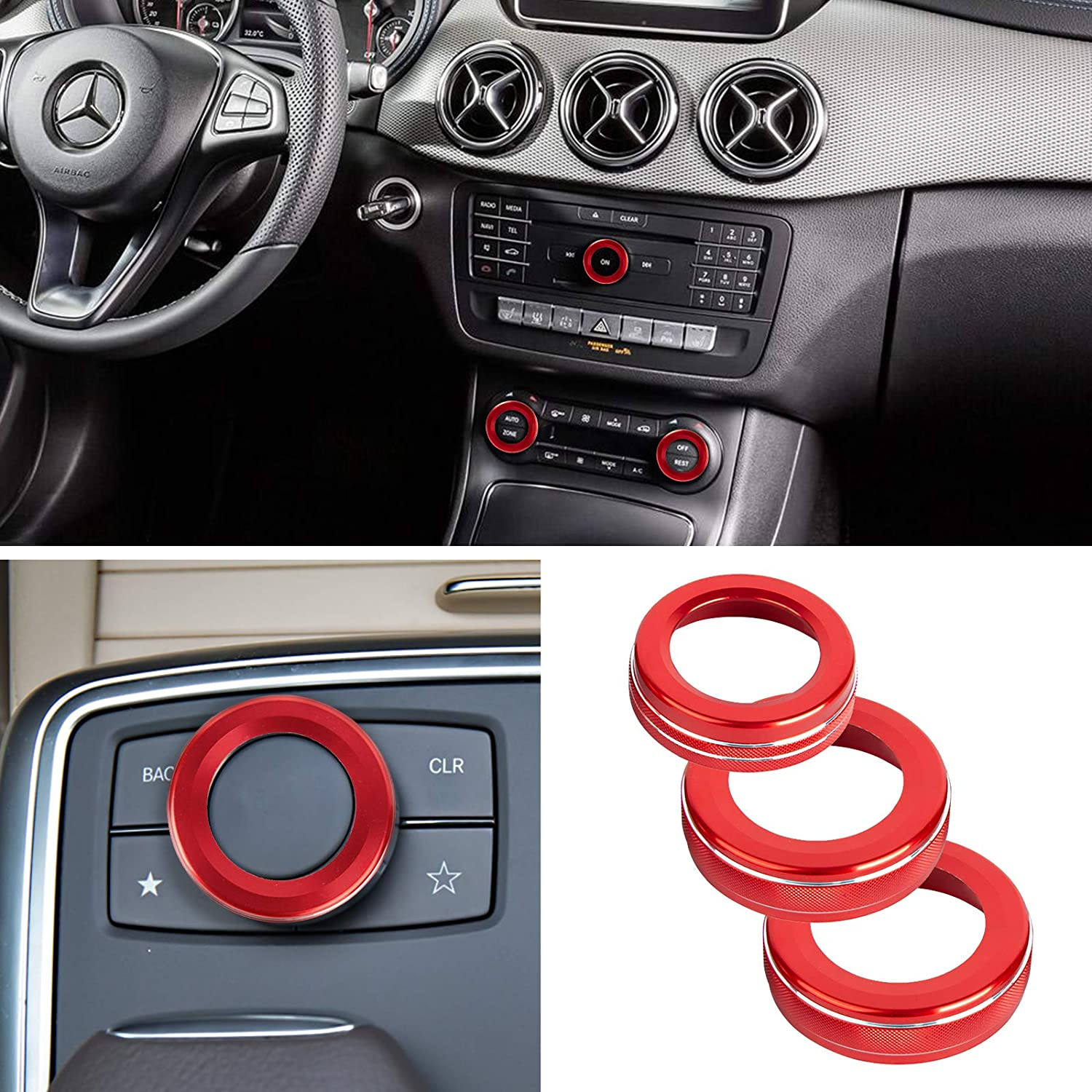 Red 3 Pack Audio Volume Knob Switch Button Cover Ring for Mercedes-Benz A-Class B-Class E-Class GLK GLA CLA GLE ML GL Car Accessories Decoration Aluminum Alloy Volume Adjustment Knob Button Ring