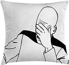 Ambesonne Humor Throw Pillow Cushion Cover, Captain Picard Face Palm Troll Guy Meme Caption Super Fun Online Illustration, Decorative Square Accent Pillow Case, 16 X 16, Black White
