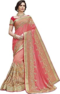 Femiss heavy embroidered saree indian style with blouse material for woman