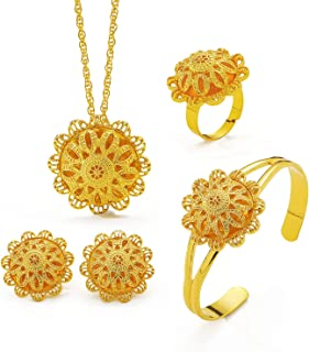 Ethlyn 4Pcs Newest Dubai Flower Jewelry Sets Gold Necklace for Women Ethiopia Wedding Party African Bridal Gifts MY157