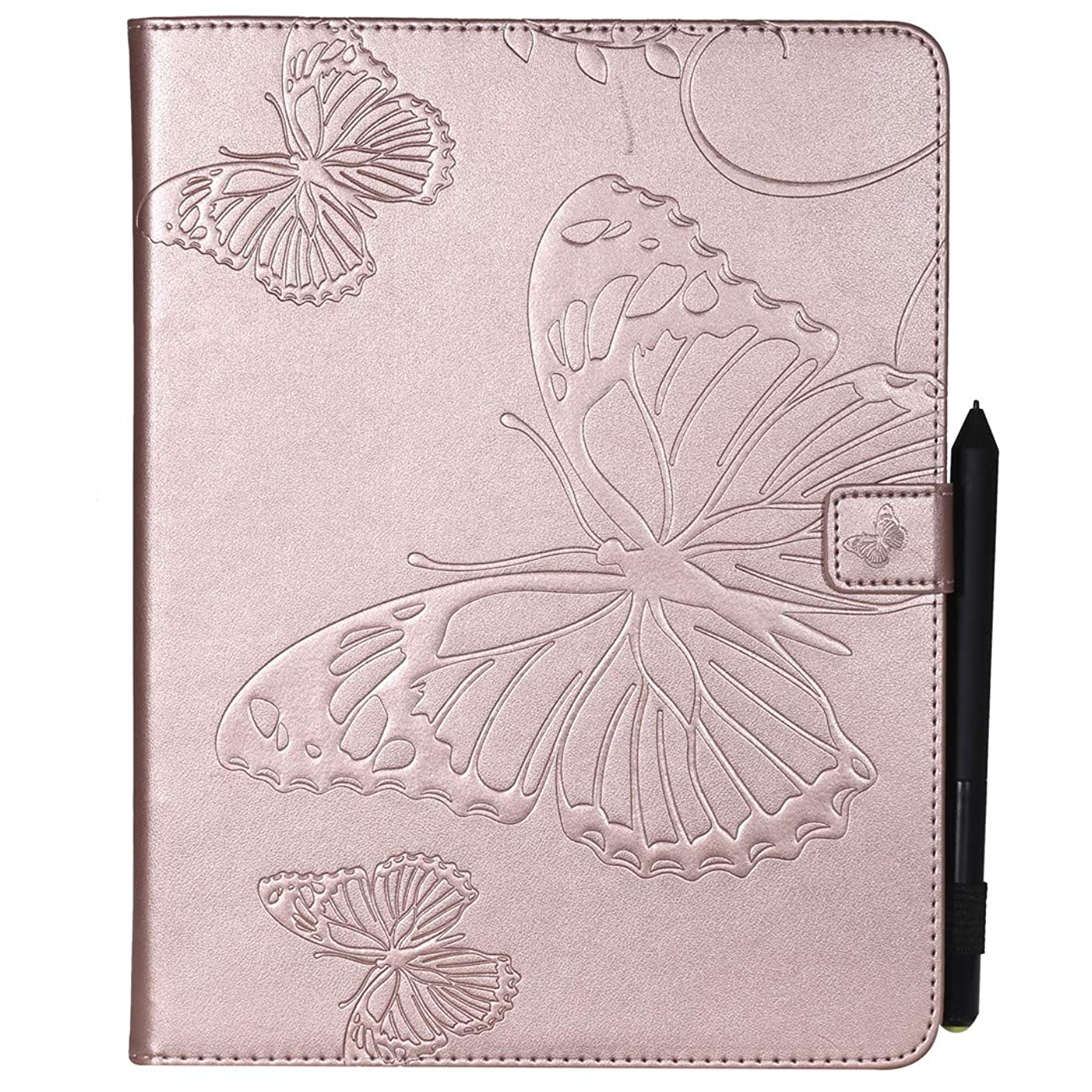 Love Sound Case for iPad Pro 12.9 Inch 2018, Emboss Butterfly PU Leather Slim Fit Shell Stand Folio Protective Case Cover with Card Slots for Apple iPad Pro 12.9 Inch 2018 Release (3rd Gen), Rose Gold