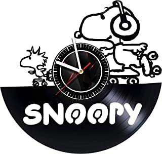 SVITshop Snoopy Happy Dance - Wall Clock Made of Vinyl Record - Handmade - Unique Design - Incredible Gift Idea for Christmas Birthday Women Men Boyfriend Girlfriend Teens Friends Cartoon