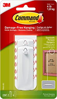 Command 17040VP 4 lb Capacity Sawtooth, 2 Hangers, 4 Strips (17040-2ES), White
