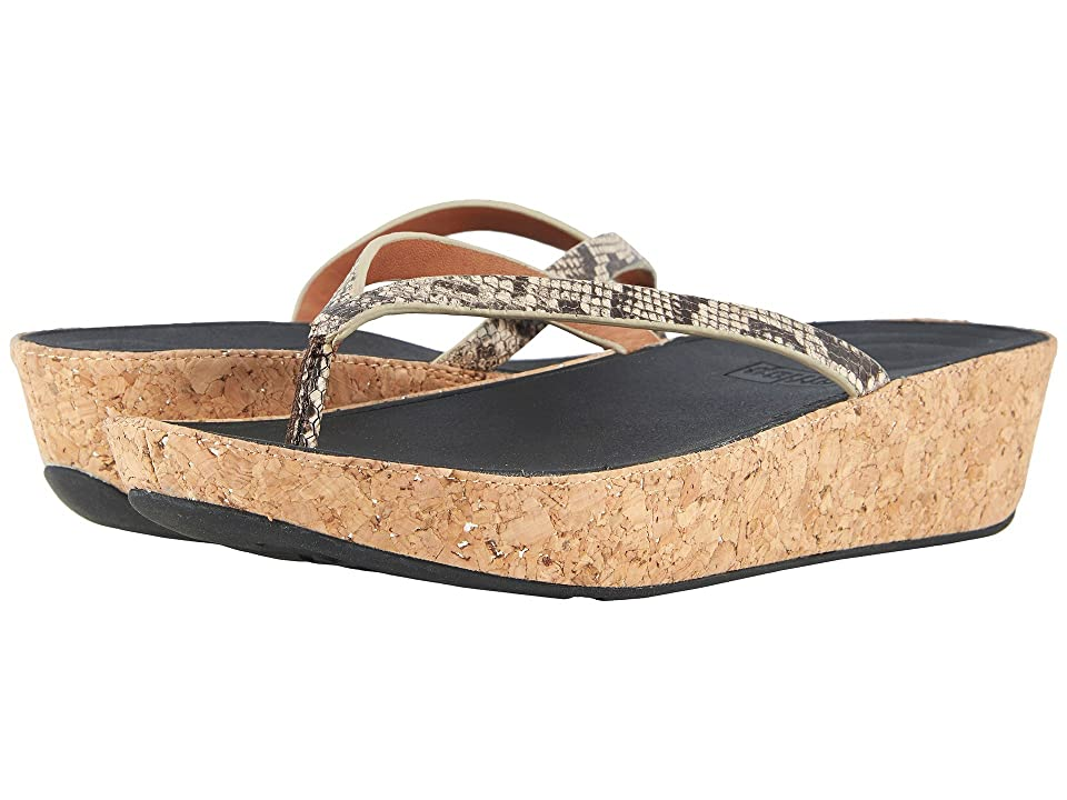 FitFlop Linny Toe Thong Sandals (Taupe Snake) Women