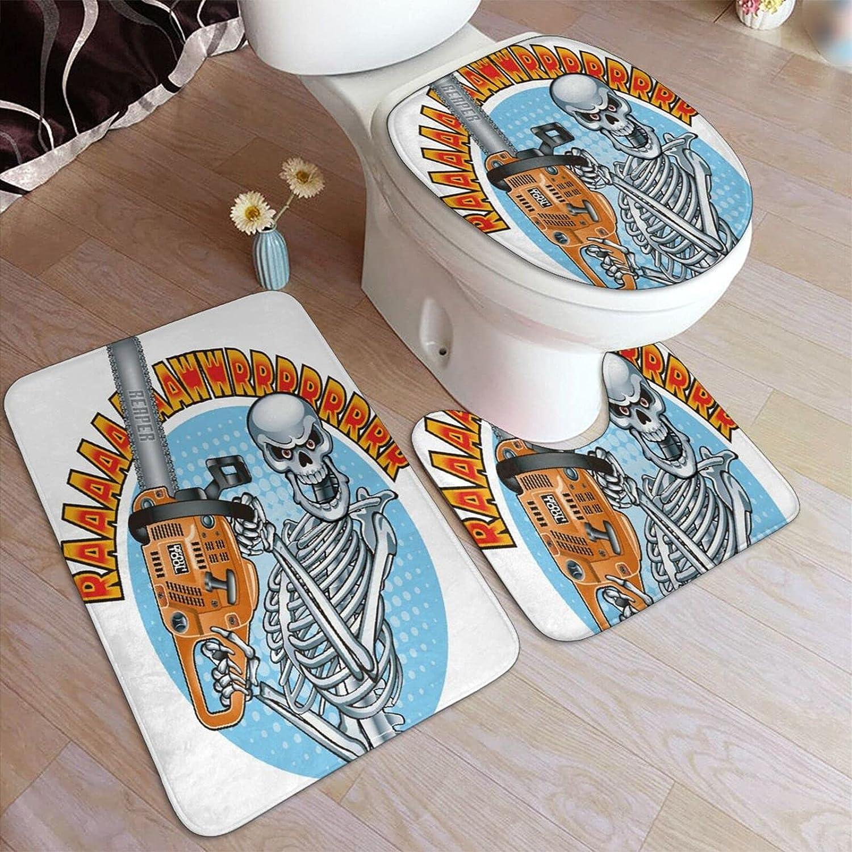 Juego de alfombras de baño de 3 piezas,Esqueleto humano sonriente sosteniendo una motosierra,Alfombrilla de inodoro con contorno en forma de U,lavable a máquina,antideslizante,para bañera,ducha,baño