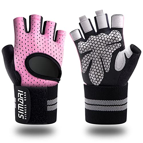 SIMARI Workout Gloves for Women Men,Training Gloves with Wrist Support for Fitness Exercise Weight