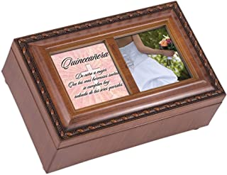 Cottage Garden Quinceañera Sueños Se Cumplan Woodgrain Embossed Jewelry Music Box Plays Wind Beneath My Wings
