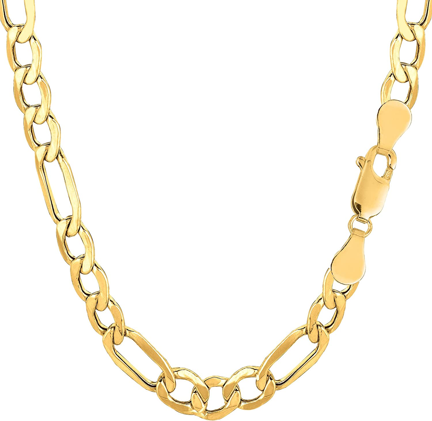 14K Yellow Gold Filled Solid Figaro Chain Necklace, 6.0 mm Wide