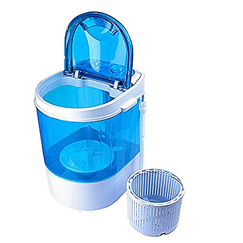 Nano Wash Plastic Round Portable Mini Washing Machine with Dryer Basket (Blue)
