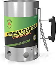 Firefly Grill 'N More Charcoal Chimney Starter, Charcoal Starter, Stainless Steel Charcoal Chimney Starter, No Lighter Fluid, 5 LB. Charcoal Capacity, Heat Resistant Handle