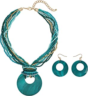 COIRIS Multi Strand Statement Colorful Beaded Necklace with Big Circle Shell Pendant for Women