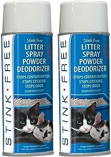 Stink Free Cat Litter Box Deodorizer Powder Spray & Odor Eliminator (2 Cans) - Non-Stick Kitty Litter Box Deodorizer, Eliminators, Absorber & Freshner