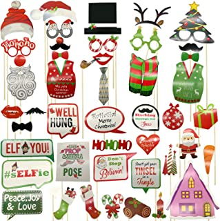 2018 Christmas Party Photo Booth DIY Props On A Stick Kit,Pack of 47 Pcs,Selfie Prop for New Year 2019