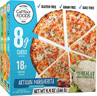 Cali'flour Foods Frozen Pizza (Variety Pack, 3 Pizzas) - Fresh Cauliflower Base | Low Carb, Gluten and Grain Free | Keto Friendly