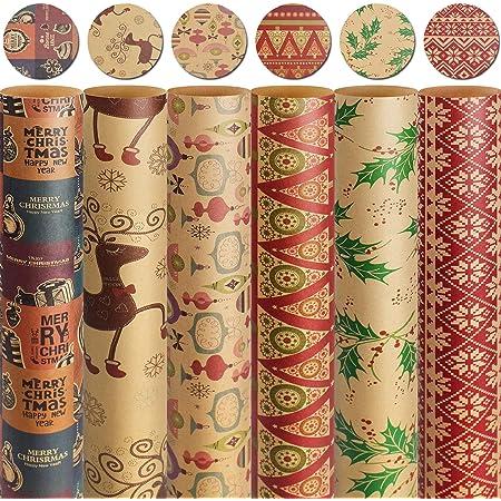 4 x 5 m Élégant Traditionnel De Noël Papier Cadeau Papier Cadeau
