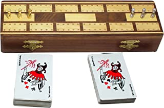 RoyaltyRoute Wooden Cribbage Board Game 2 Playing Cards Deck 6 Metal Cribbage Pegs - Christmas Gifts