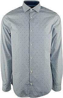 Men's Long Sleeve Dobby Print Slim Fit Shirt