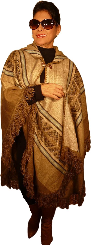 Womens Shawl Poncho Wrap Cape with Hoodie 80% AlpacaLIGHT BROWNblueEBROWN