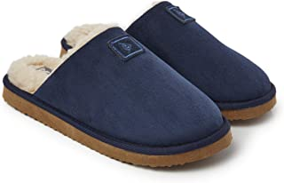 Dunlop Mens Slippers Open Back, Comfy Memory Foam Men Slippers with Rubber Sole, Indoor Outdoor Anti Slip House Shoes Comf...