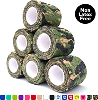 "Cohesive Bandage 2"" x 5 Yards, 6 Rolls, Self Adherent Wrap Medical Tape, Adhesive Flexible Breathable First Aid Gauze Ideal for Stretch Athletic, Ankle Sprains & Swelling, Sports (Jungle Camo)"