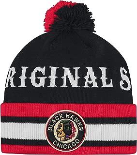 Adidas Chicago Blackhawks Adult Original Six Cuffed Pom Knit Winter Hat
