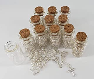 YRP 12 Rosary in Glass Jar Bottle Beads Clear Pearl Catholic Crucifix Necklace Jesus Christ First Comunion Recuerdos De Bautizo