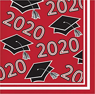 """Creative Converting Class of 2020 Red Grad Beverage Napkins, 5"""""""