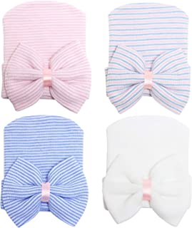 Zando   Baby Turban Headwraps Newborn Hospital Hats Soft Bow Infant Toddler Cap 4 Pack Bow/ 0-3 Month