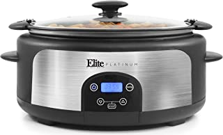Maxi-Matic MST-610DT Digital Programmable Slow Cooker with Locking Lid, Nonstick Oval Pot..