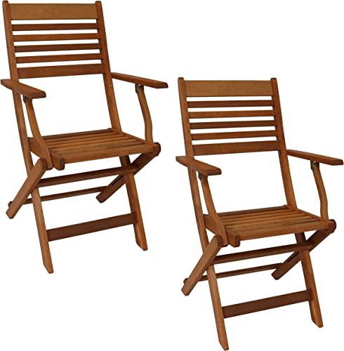 new arrival Sunnydaze Meranti Wood Outdoor Folding high quality Patio Armchairs - Set of 2 - Outside Wooden Bistro wholesale Furniture for Lawn, Deck, Balcony, Garden and Porch - Teak Oil Finish outlet online sale