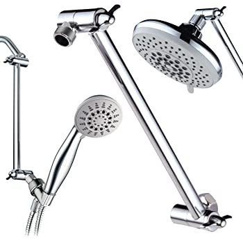 "Hotel Spa 11"" Solid Brass Adjustable Shower Extension Arm with Lock Joints. Lower or Raise Any Rain or Handheld Showerhead to Your Height & Angle / 2-Foot Range/Universal Connection, Chrome Finish"