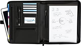 Executive PU Leather Zipper Portfolio, Designed for Professional Meetings and Interviews, Padfolio with Legal Pad, Business Card Slots, 10.1 Inch Tablet Sleeve, and Zipper Pockets