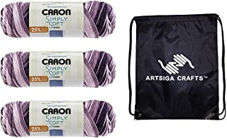 Caron Knitting Yarn Simply Soft Ombres Grape Purple 3-Skein Factory Pack (Same Dyelot) 294022-22007 Bundle with 1 Artsiga ...