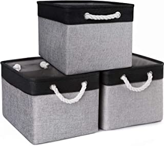 WISELIFE Storage Baskets [3-Pack] Collapsible Canvas Storage Bins for Toys Shoes Decorative Cloth Baskets Boxes for Organizing w/Handles(Grey-Black Patchwork,15