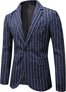 YOUTHUP Mens Vertical Stripes Blazer Slim Fit Casual Striped Suit Jacket 1 Button Dress Jackets