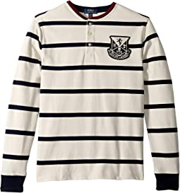Striped Cotton Mesh Henley (Big Kids)