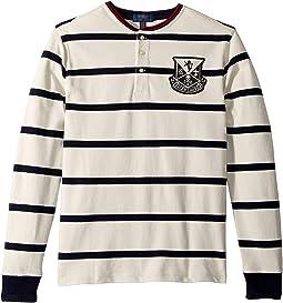 Striped Cotton Mesh Henley (Big Kids)
