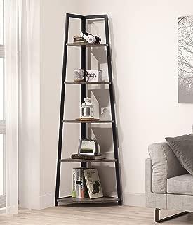 NA Weathered Grey Finish 5-Tier Corner Shelf Industrial A-Shaped Bookcase Display Storage Rack Bookshelf 70