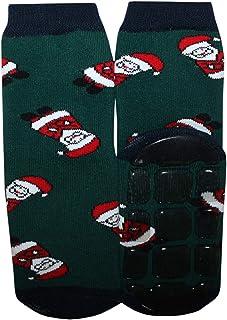Weri Spezials - Calze antiscivolo per bambini, in ABS, motivo: Babbo Natale Verde scuro