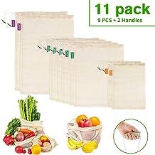 PEYOU 11 PCS Bolsas Reutilizables Algodón, 9 PCS Bolsas de Malla Lavables Transpirables con 2 Asa Mango, Bolsas Reutilizables Compra de Fruta,Vegetales y Juguetes