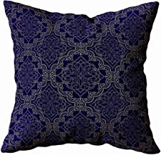 Pamime Square Throw Decrotive Pillow Covers Navy Blue Velvet Pattern Luxury Style Gold Ornate Background Filigree Floral Motif Pillow Case Cover for Home 16X16Inches Art Pillowcase,White Blue