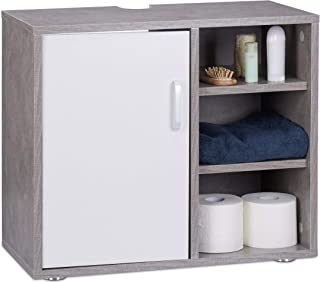 Relaxdays Mueble Lavabo con Pie Y 3 Compartimentos, DM, Gris