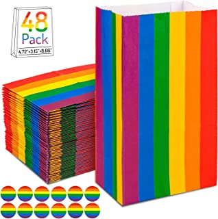 Whaline 48 Pack Rainbow Paper Bags, Rainbow Party Treat Bags with 96 Pcs Rainbow Stickers, Recyclable Goodies Gift Wrappers for Kids Themed Party Supplies, 4.7 x 3.1 x 8.7 Inch