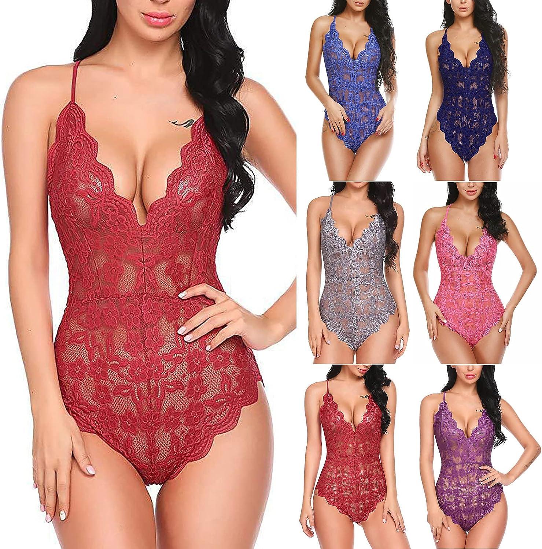Lingerie for Women Sex Bodysuit ,Sexy Lace One-Piece Mini Teddy Babydoll Deep-V Sleepwear Halter Jumpsuit